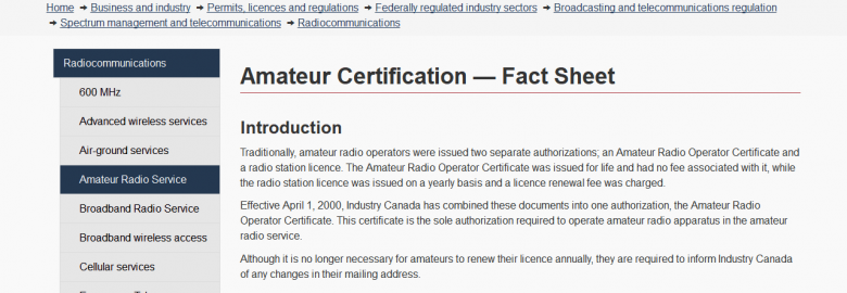 Amateur Certification Fact Sheet – Industry Canada